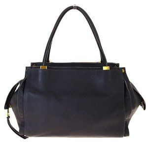 CHLOE Dolly Tote Shoulder Bag Leather Black Gold